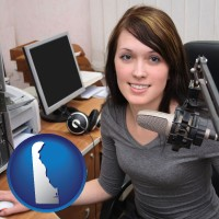 delaware map icon and a female radio announcer