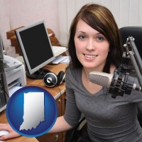 indiana map icon and a female radio announcer
