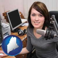maine map icon and a female radio announcer