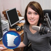 minnesota map icon and a female radio announcer