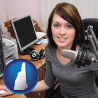 new-hampshire map icon and a female radio announcer