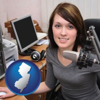 new-jersey map icon and a female radio announcer