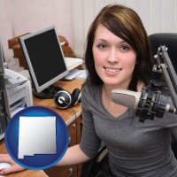 new-mexico map icon and a female radio announcer