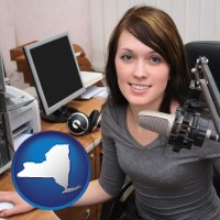 new-york map icon and a female radio announcer