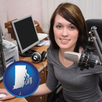 rhode-island map icon and a female radio announcer