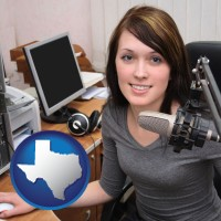 texas map icon and a female radio announcer