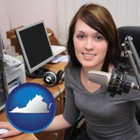 virginia map icon and a female radio announcer