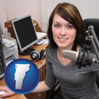 vermont map icon and a female radio announcer