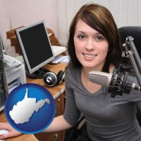 west-virginia map icon and a female radio announcer